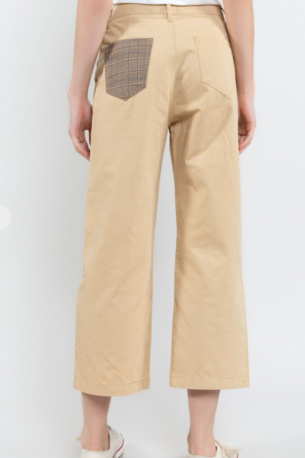 POL  Cropped Twill Pants - Front Full Image