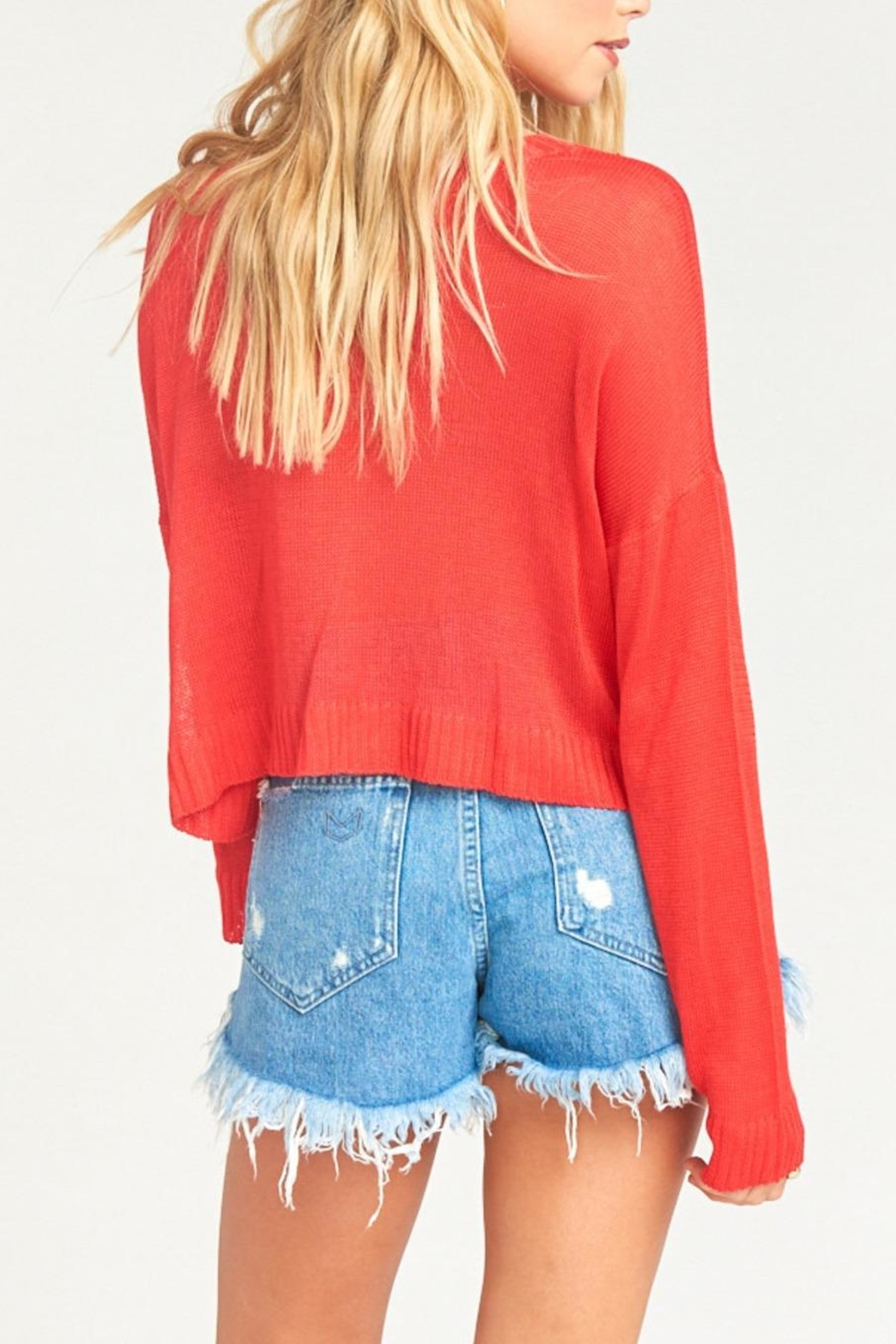 Show Me Your Mumu Cropped Varsity Sweater - Back Cropped Image