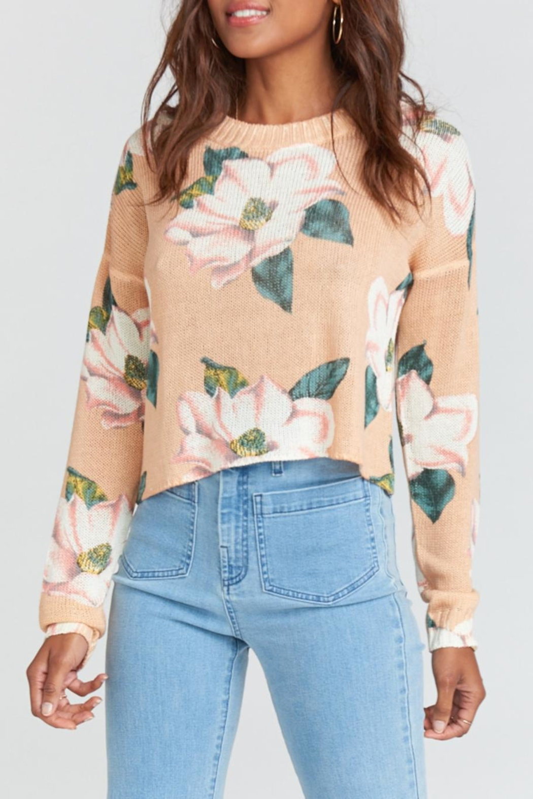 Show Me Your Mumu Cropped Varsity Sweater - Front Full Image
