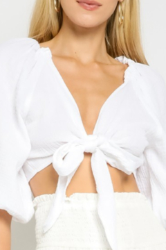 Olivaceous  Cropped White Tie Top - Alternate List Image