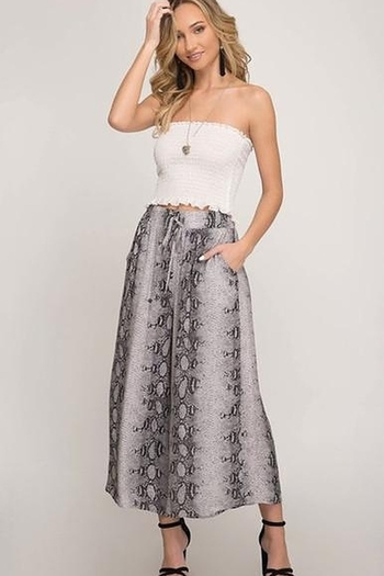 She + Sky Cropped Wide Leg Snake Skin Pants from New York by Say More Boutique — Shoptiques