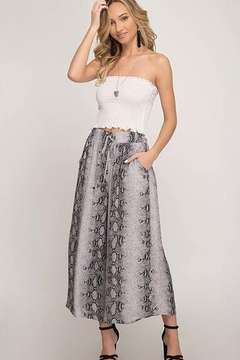 She + Sky Cropped Wide Leg Snake Skin Pants - Product List Image