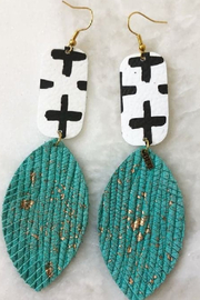 Blu Gertrude Cross and Leaf Leather Earring - Front cropped