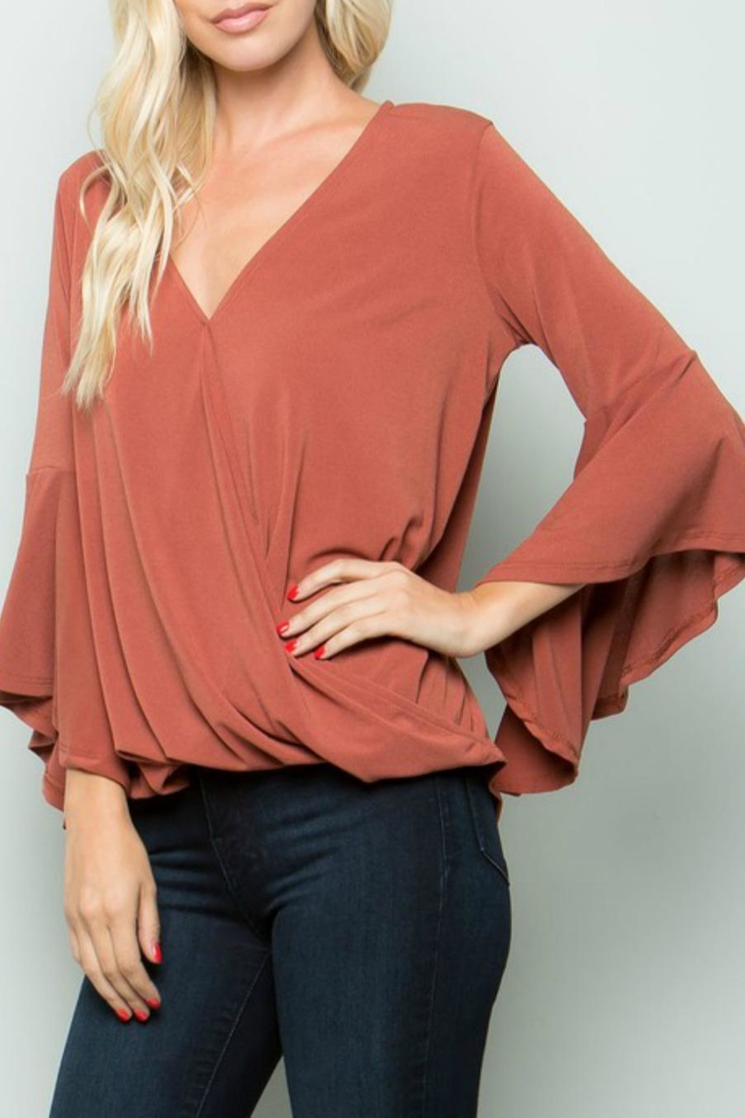 eesome Cross-Front Bell-Sleeve Top - Front Full Image