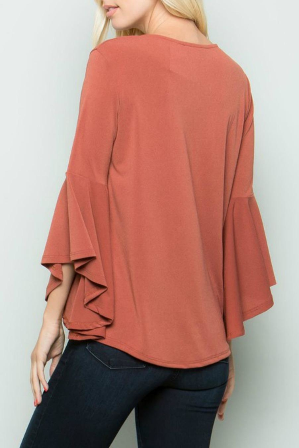 eesome Cross-Front Bell-Sleeve Top - Side Cropped Image