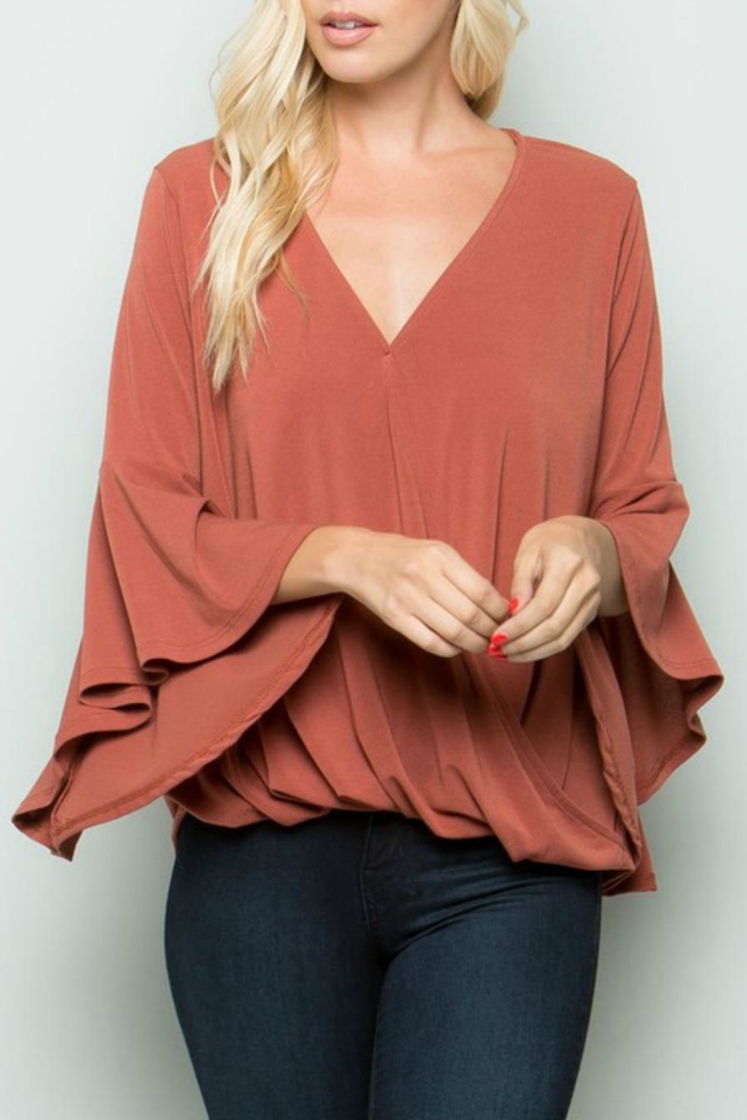 eesome Cross-Front Bell-Sleeve Top - Main Image