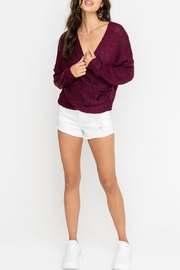 Lush Cross-Front Sweater, Burgundy - Front cropped