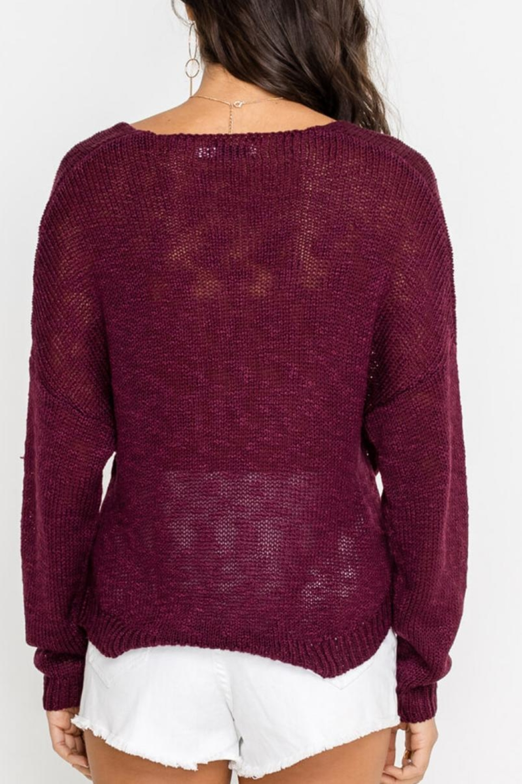 Lush Cross-Front Sweater, Burgundy - Back Cropped Image
