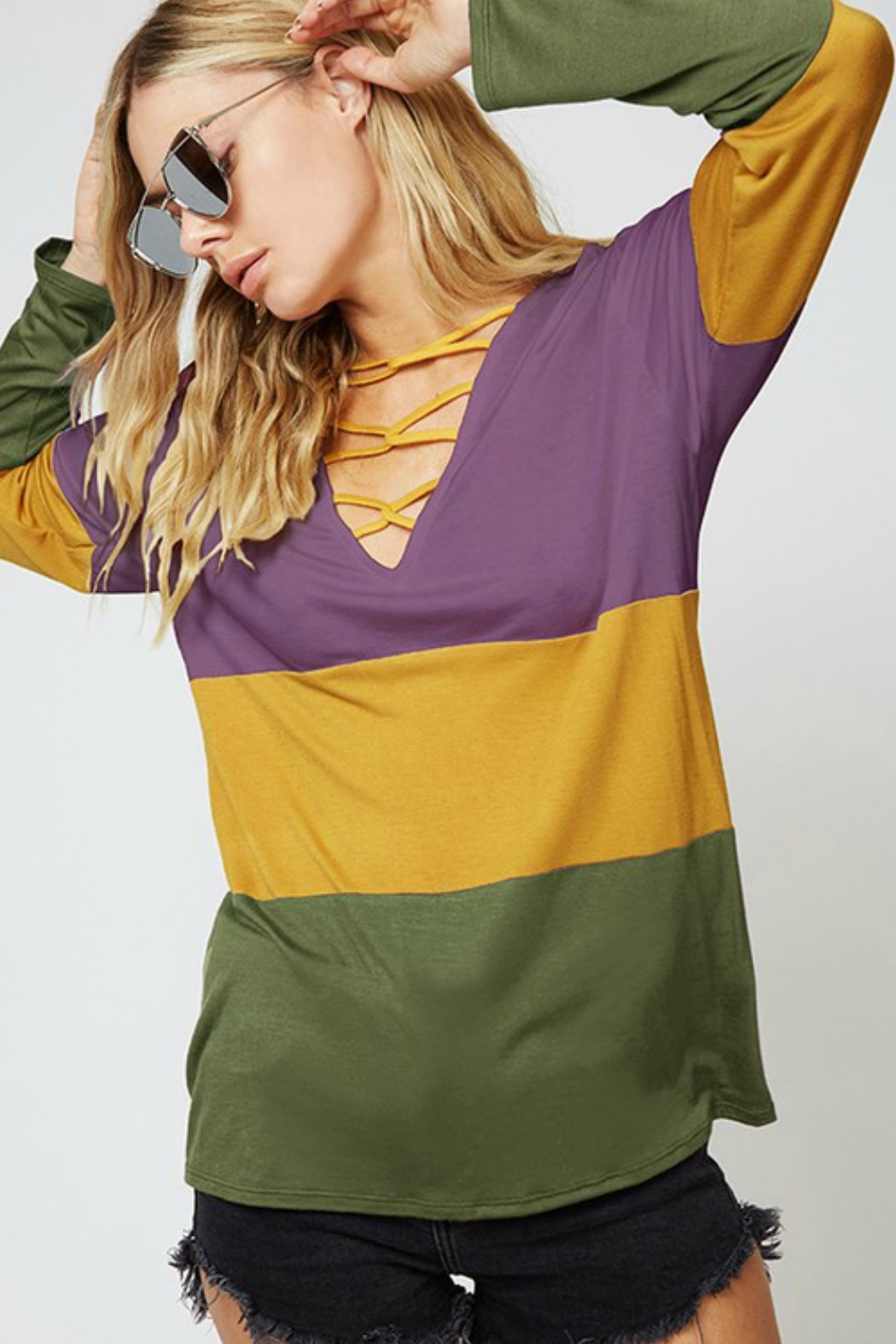Fantastic Fawn Cross Neck Colorblock Top - Front Cropped Image