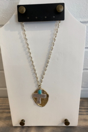 Kindred Mercantile  Cross Pearl Strand Necklace - Product Mini Image