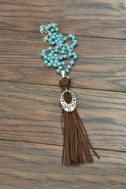JChronicles Cross-Pendent Suede-Tassel Turquoise-Necklace - Product Mini Image