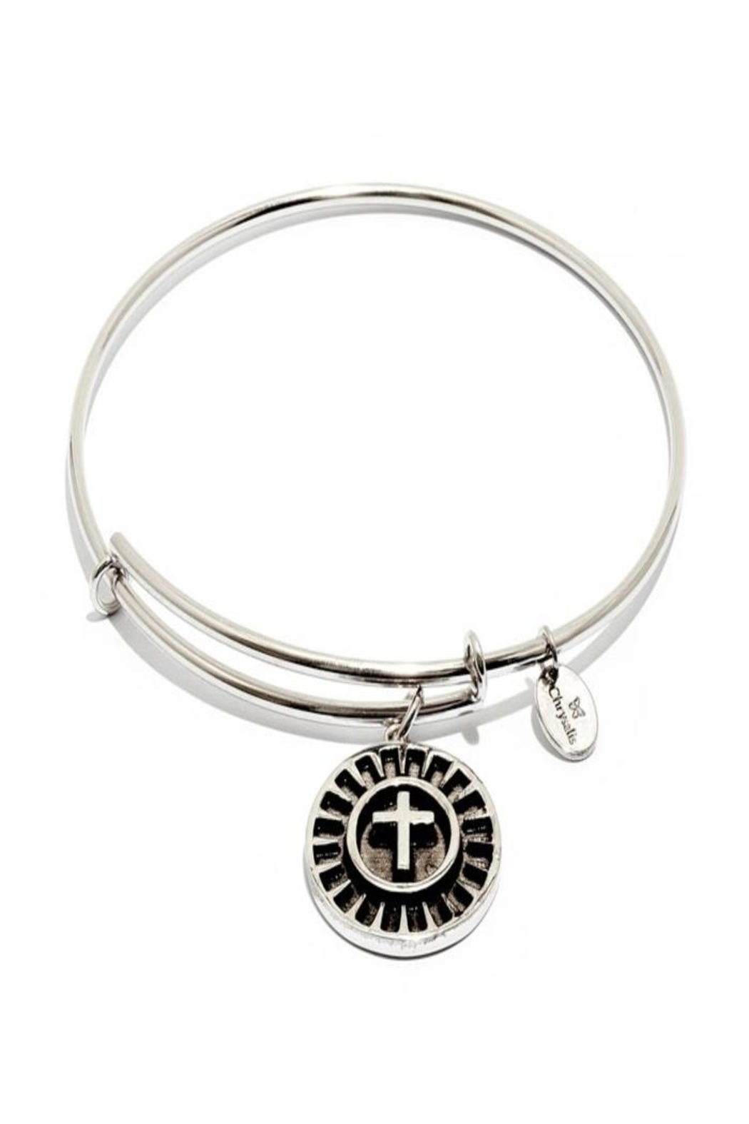Chrysalis Cross Silver Bangle - Front Cropped Image