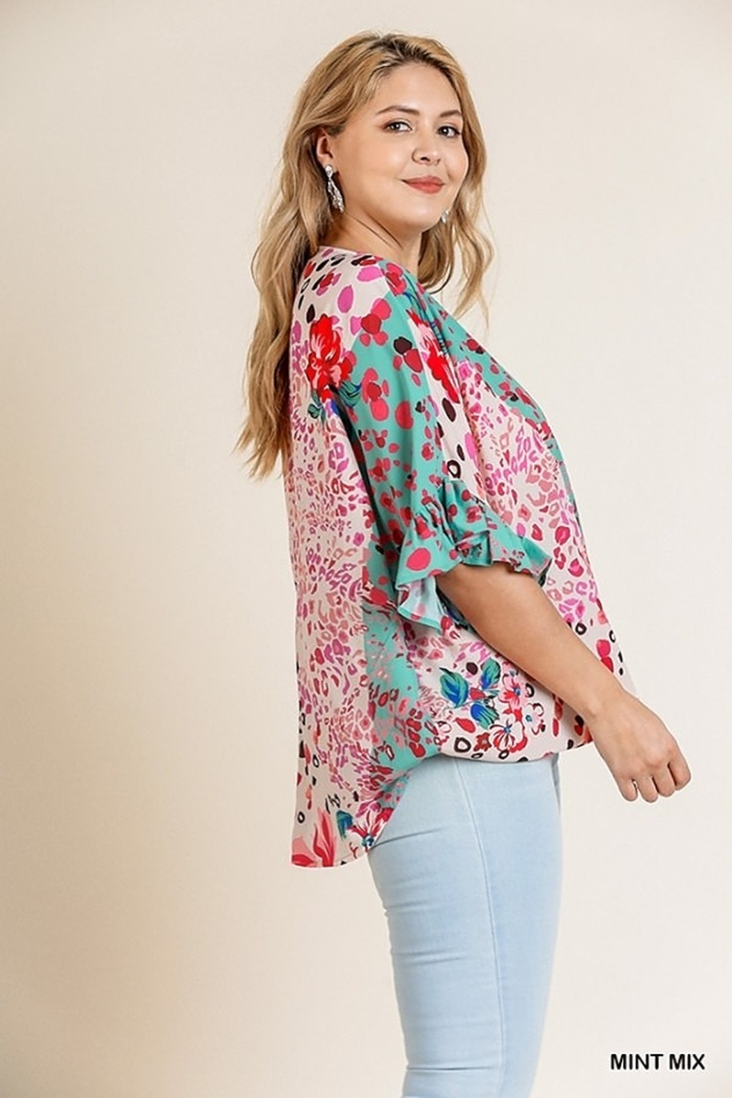 Umgee USA Crossbody Floral Top - Back Cropped Image