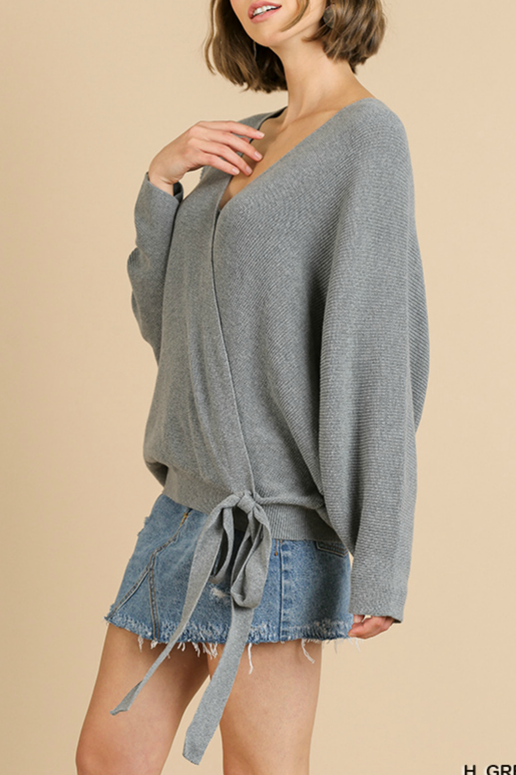 Umgee USA Crossbody Knit Top - Front Full Image