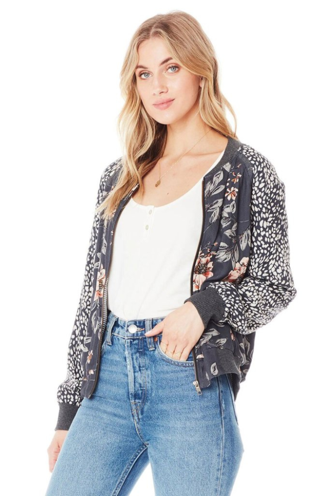 Saltwater Luxe Crossfire Bomber Jacket - Front Full Image