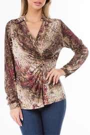 Ariella USA Crossover Button Trim L/S Top - Product Mini Image