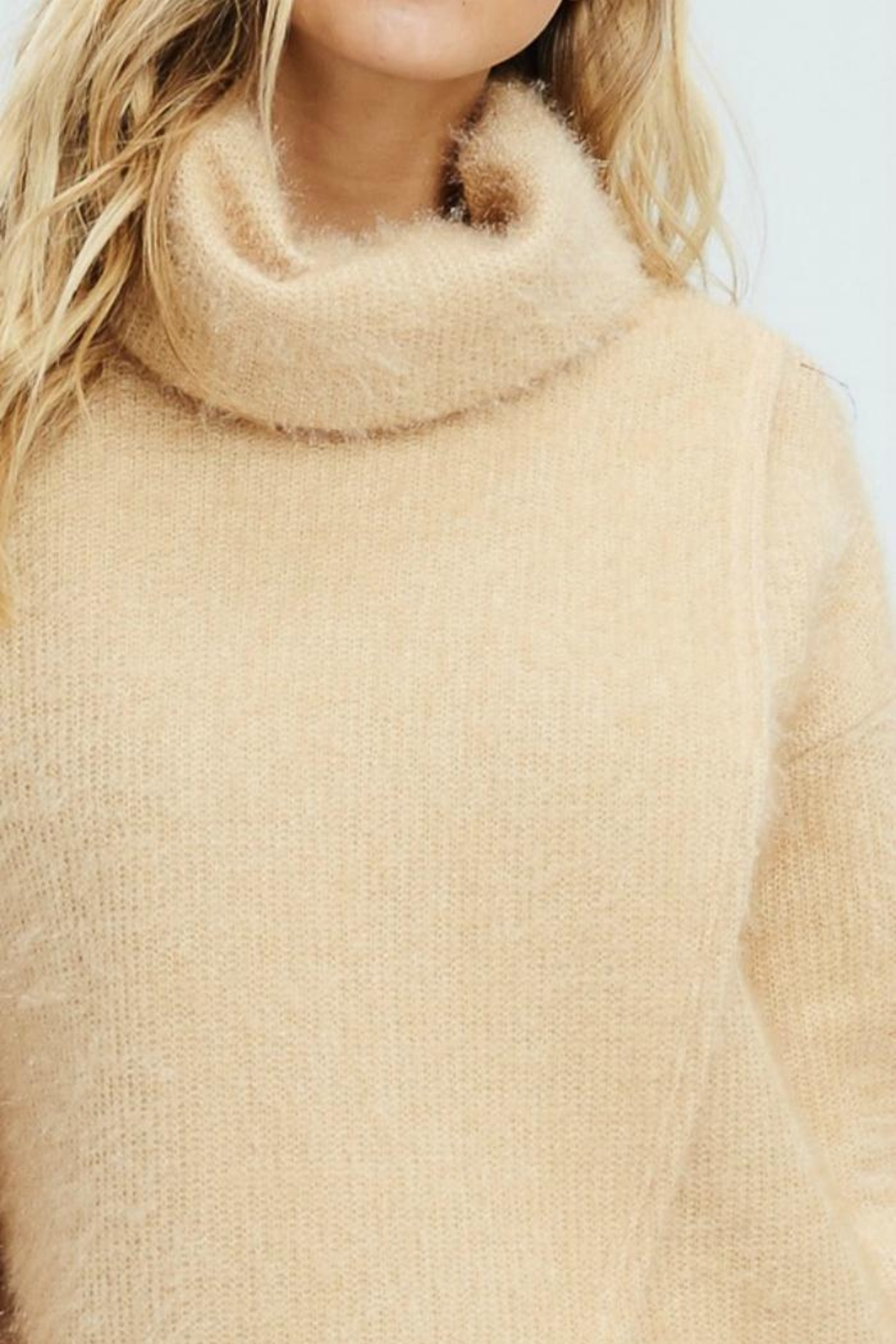 White Birch Crossover Cowl Sweater - Back Cropped Image