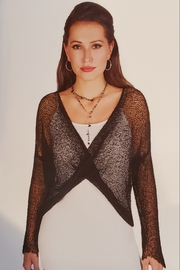 Tricotto Crossover Mesh Coverup, Black - Front cropped