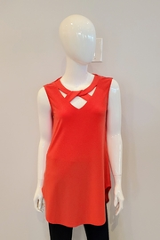 Joseph Ribkoff Crossover Neck Tank Tunic, Papaya - Product Mini Image