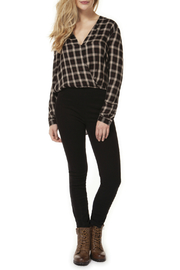 Dex Plaid Crossover Blouse - Product Mini Image