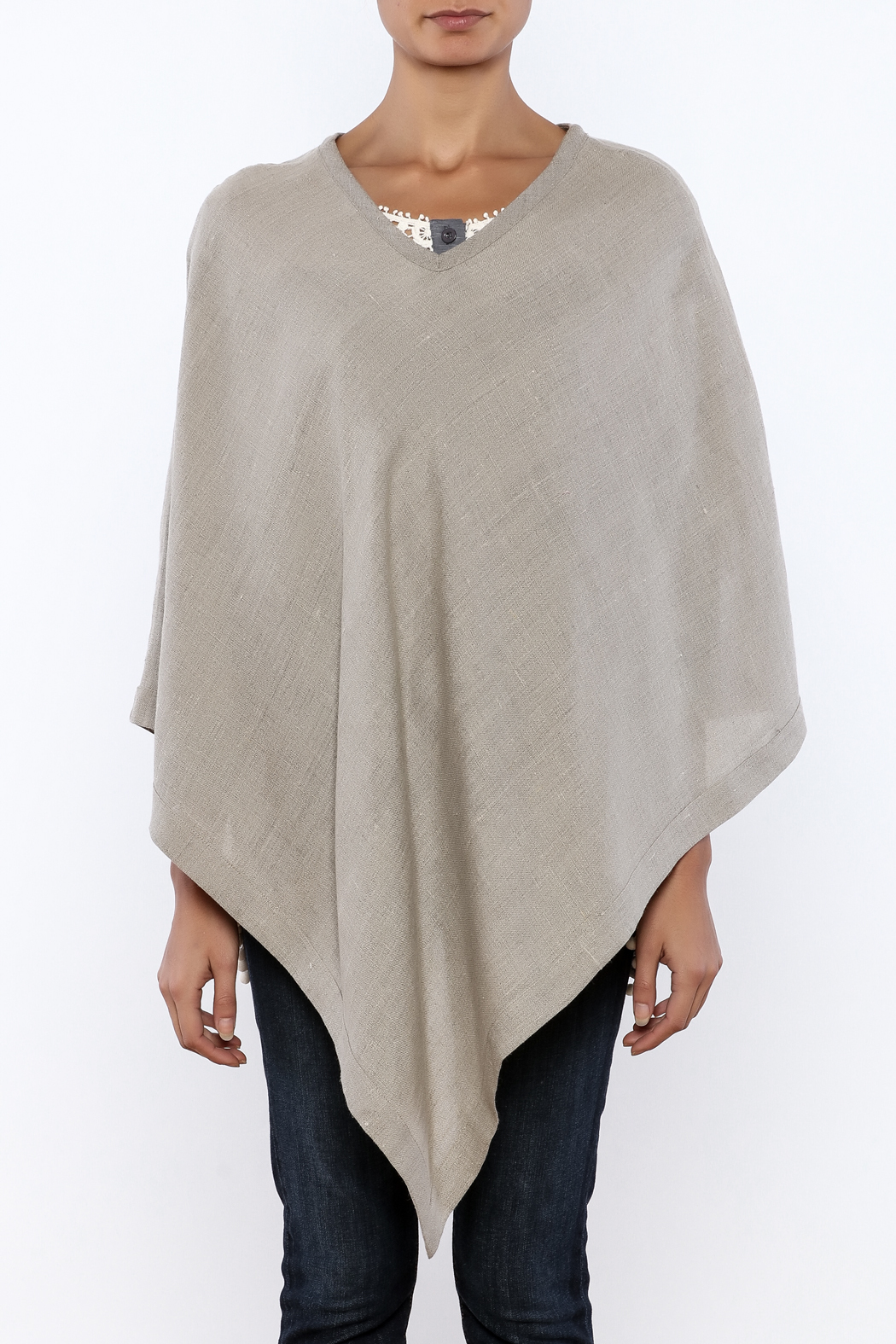 Crown Linen Designs Linen Poncho - Side Cropped Image