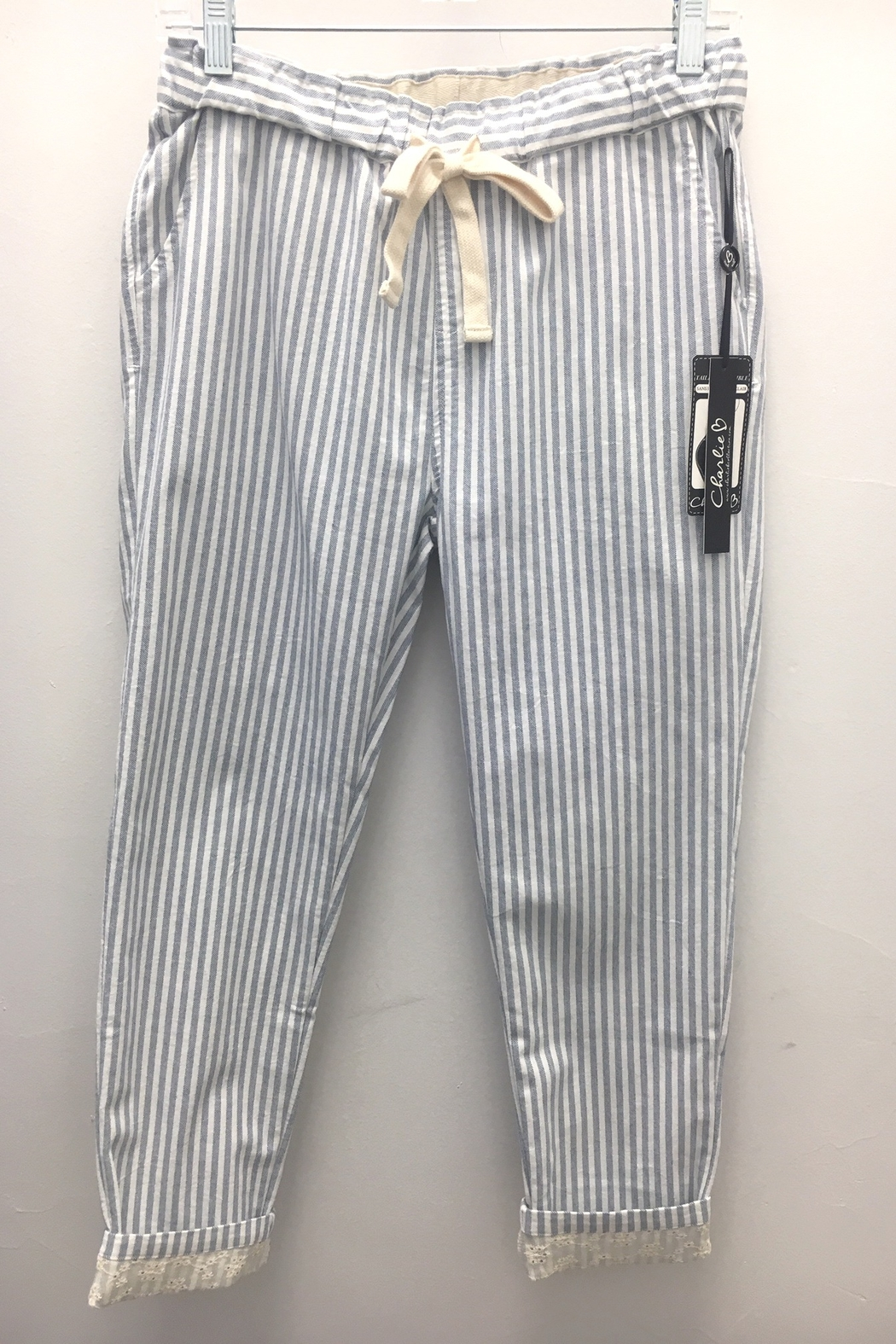 Charlie B Crushed Cotton Pull On Pant - Front Full Image