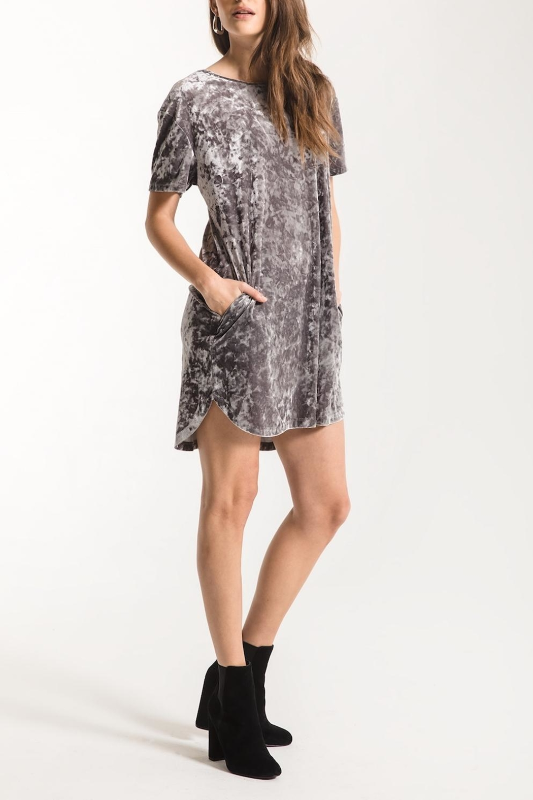 z supply Crushed Velour Dress - Front Full Image