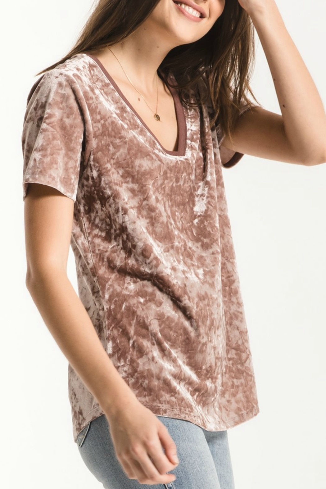 z supply Crushed Velour Tee - Front Cropped Image