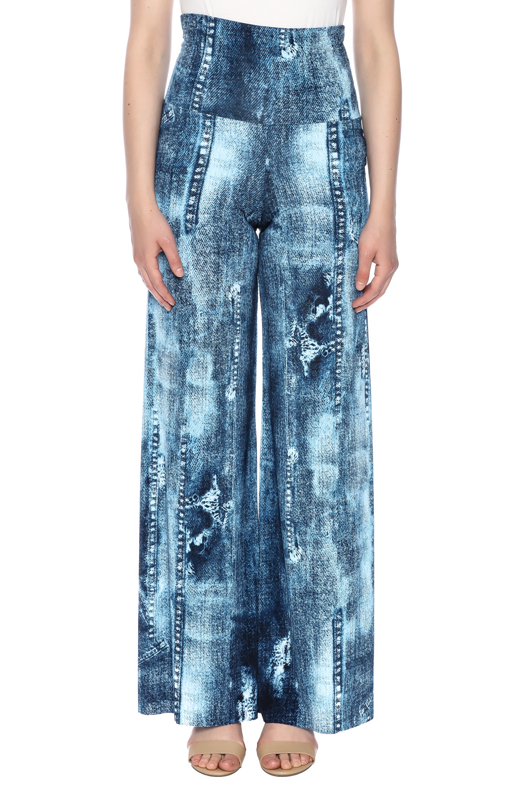 Crystal Art Designs Denim Palazzo Pants - Side Cropped Image
