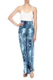 Crystal Art Designs Denim Palazzo Pants - Front full body