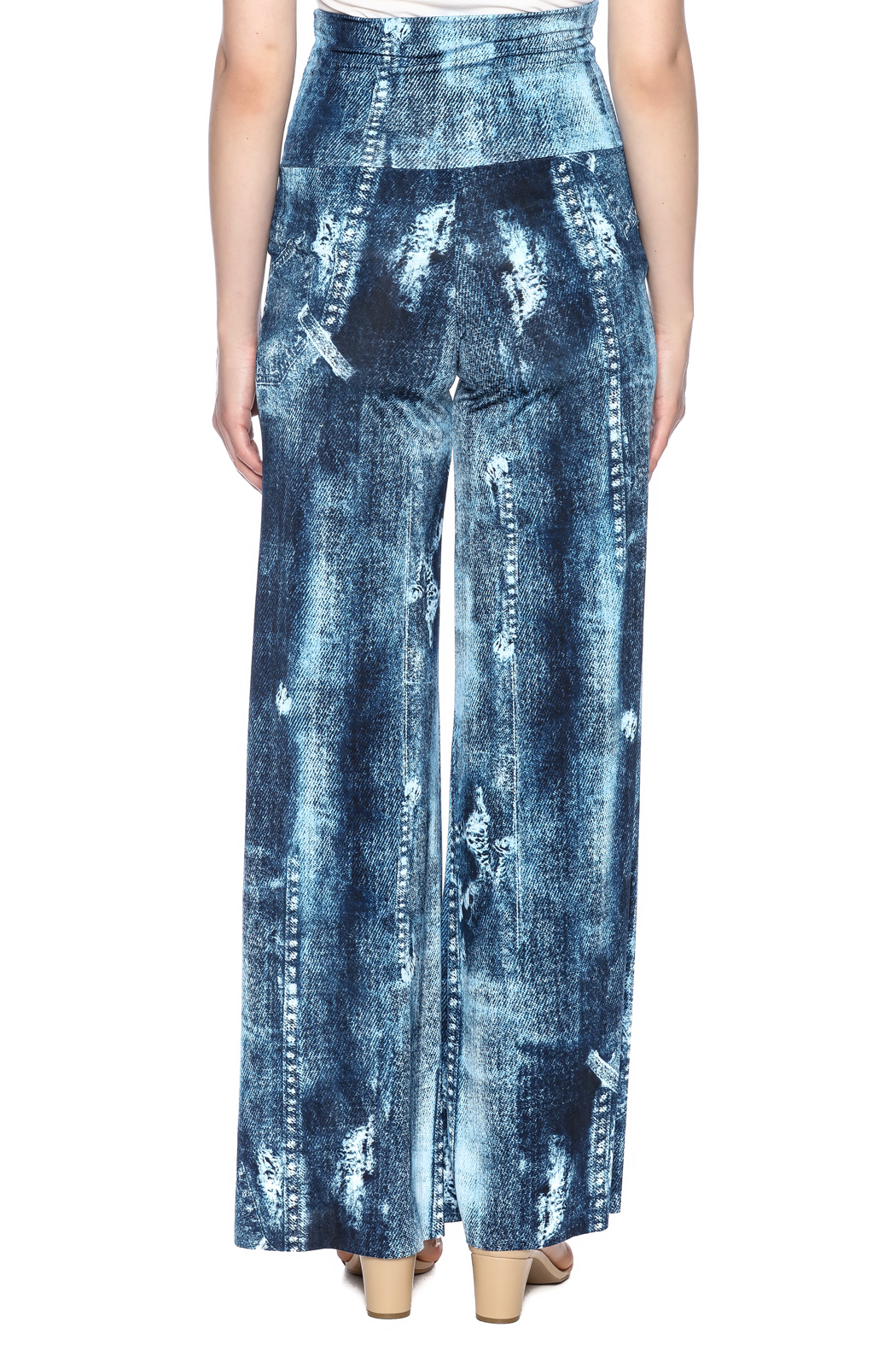 Crystal Art Designs Denim Palazzo Pants - Back Cropped Image