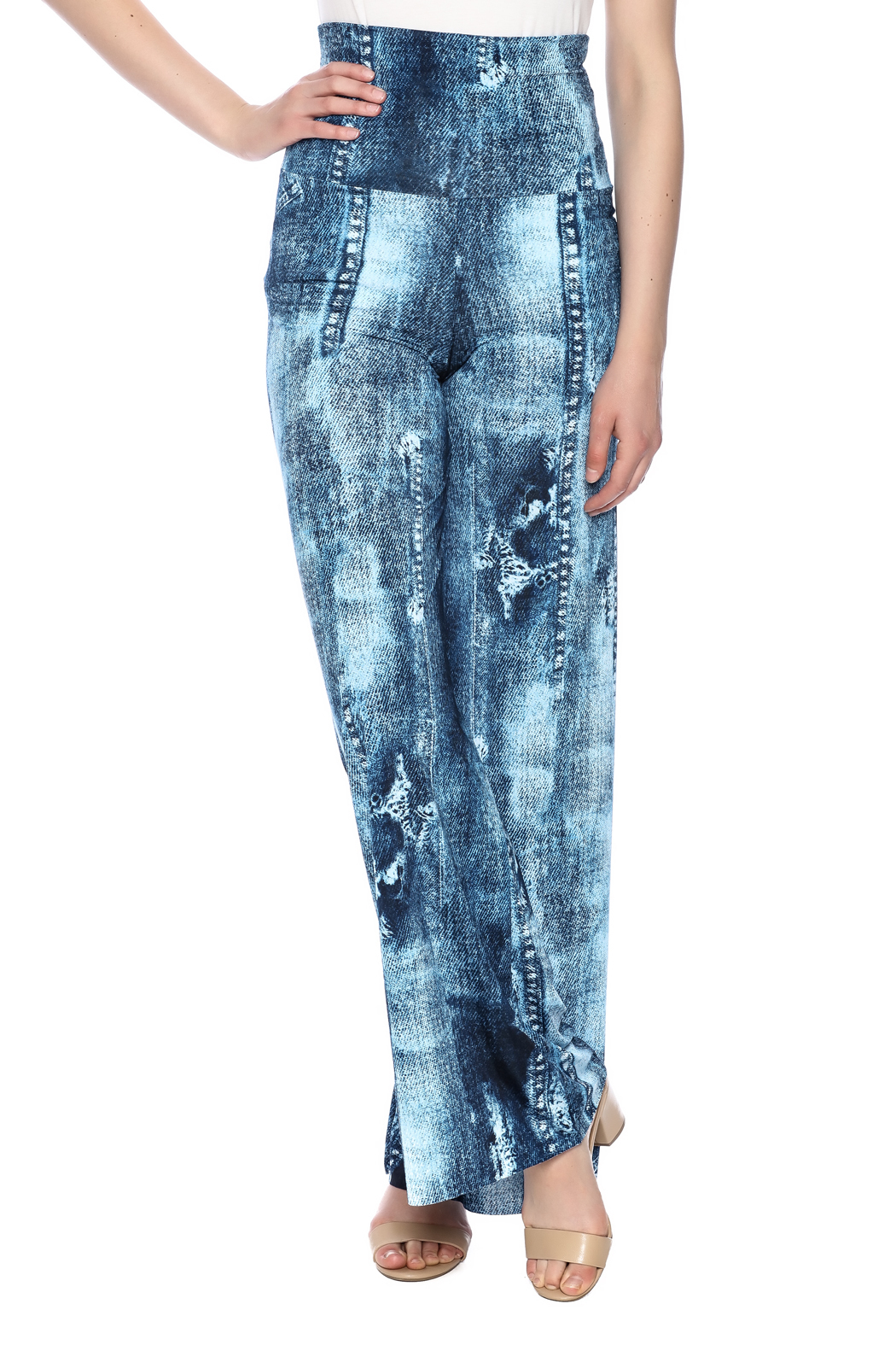 Crystal Art Designs Denim Palazzo Pants - Main Image