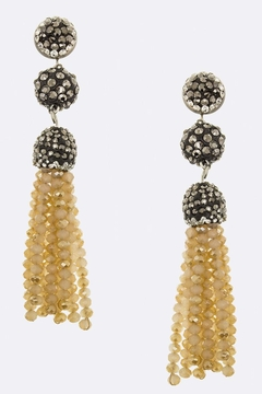 Shoptiques Product: Crystal-Ball Tassel Earrings
