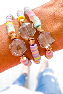 Savvy Bling Crystal Bead Pastel Heishi Bracelet - Product List Image