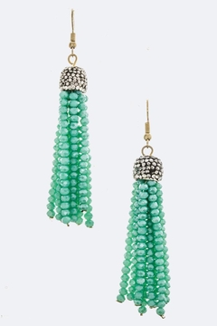 Shoptiques Product: Crystal-Bead Tassel Earrings
