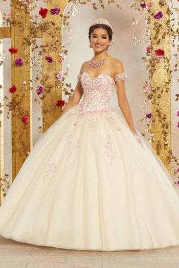 Morilee Crystal Beaded, Three-Dimensional Floral Appliqués and Embroidery on a Tulle Ballgown from