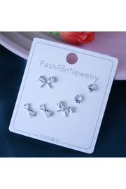 Silver Jewels Crystal Bows Silver Earring Set - Product Mini Image