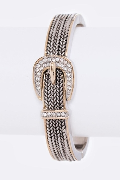 Shoptiques Product: Crystal Buckle Open-Bangle