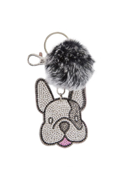Bari Lynn Crystal Bulldog Keychain With Fur Pom Pom - Product Mini Image