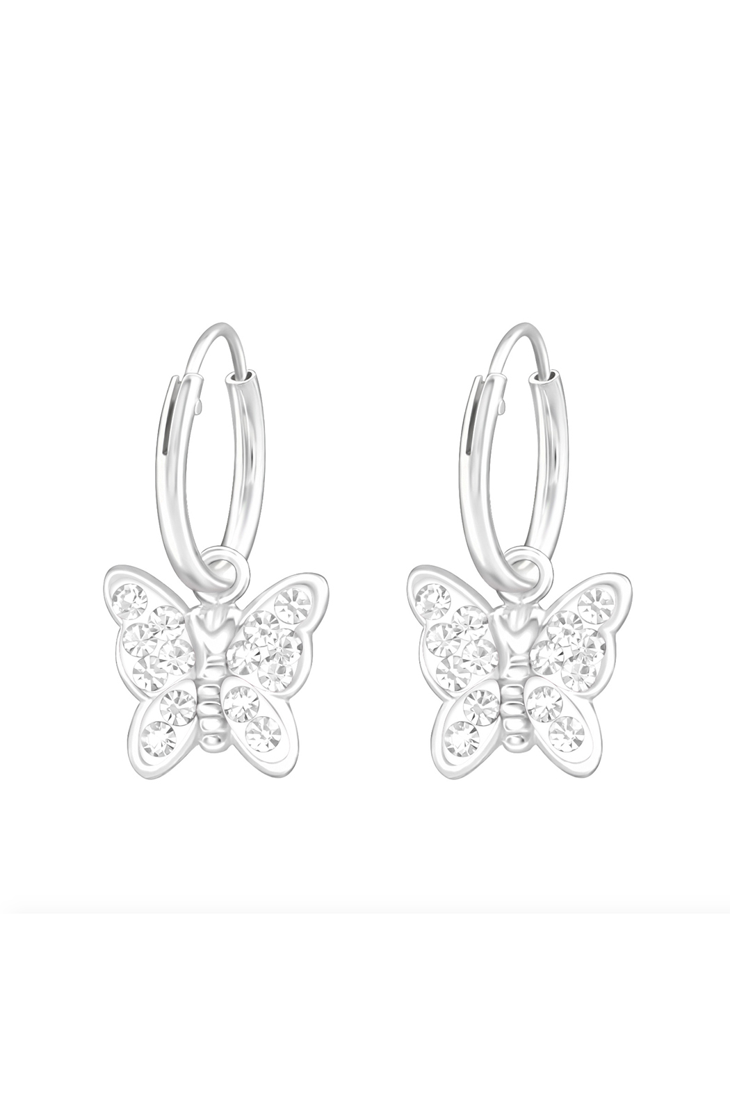 Silver Jewels Crystal Butterfly Silver Hoop Earrings - Front Cropped Image