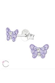 Silver Jewels Crystal Butterfly Silver Stud Earrings - Product Mini Image