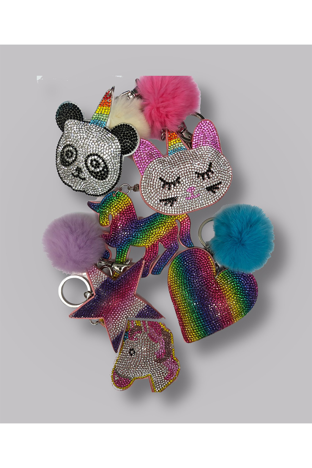 Bari Lynn Crystal Caticorn Keychain/With Fur Pom Pom - Main Image
