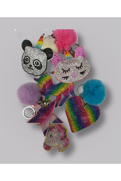 Bari Lynn Crystal Caticorn Keychain/With Fur Pom Pom - Product List Image