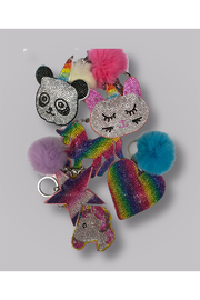 Bari Lynn Crystal Caticorn Keychain/With Fur Pom Pom - Front cropped