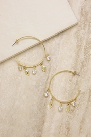 Ettika Crystal Charm Hoops - Front cropped