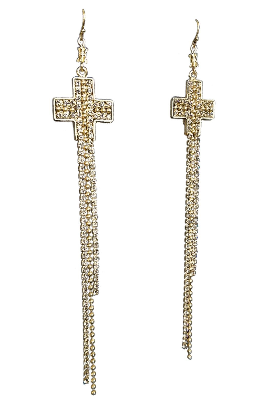 Virgins, Saints & Angels Crystal Cross Earrings - Front Full Image