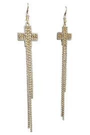 Virgins, Saints & Angels Crystal Cross Earrings - Front full body