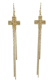 Virgins, Saints & Angels Crystal Cross Earrings - Front cropped