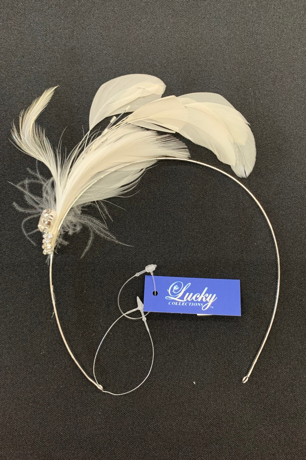 Lucky Collections Crystal + Feather Headband - Main Image