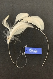 Lucky Collections Crystal + Feather Headband - Front cropped